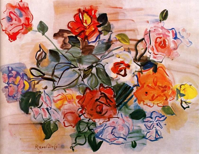 Raoul-Dufy-Mazzo-di-rose-1940-gouache-acquarello-su-carta-31-x-40-cm-Collezione-Albert-D.-Lasker-New-York