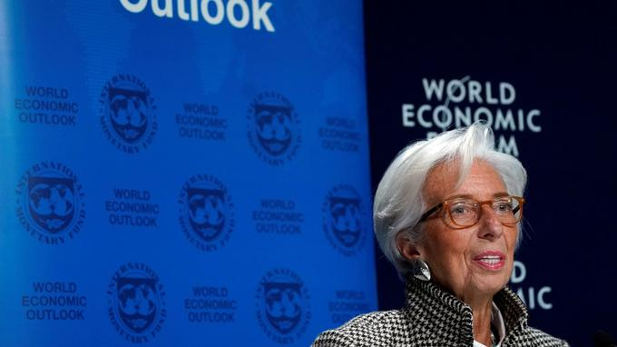 Lagarde Managing Director of the IMF attends a news conference on the world economic outlook during the WEF in Davos